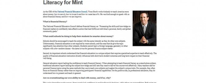 Screenshot of Mint.com's Interview with Vince Shorb, CEO of the NFEC