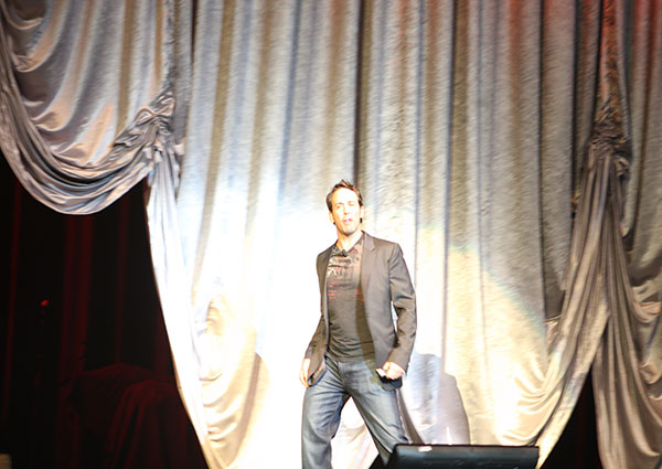 Vince Shorb on stage at personal finance event