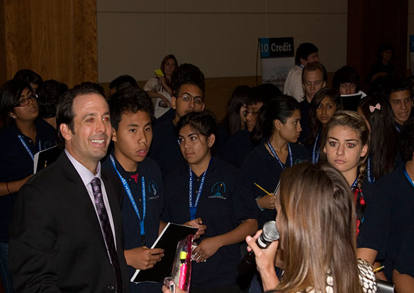 Vince Shorb talking with students
